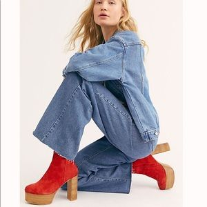 New Free People Friday Night Red Platform Boot